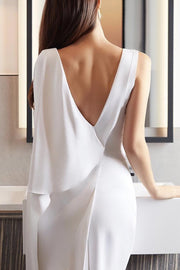 White V Neck Backless Defined Waist Party Women Dress
