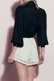 V Neck Bow Tie Detail Long Blouson Sleeves Top