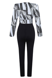 Black Sequin Patchwork Plunge Neckline Long Sleeve Fashion Jumpsuit