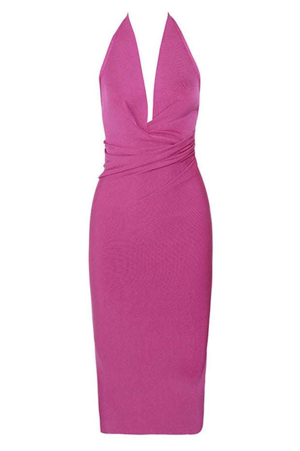Plunge V Neck Backless Bodycon Dress