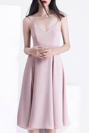 Spaghetti Strap  Backless  Causal Dress A-Line Bow Summer Dress