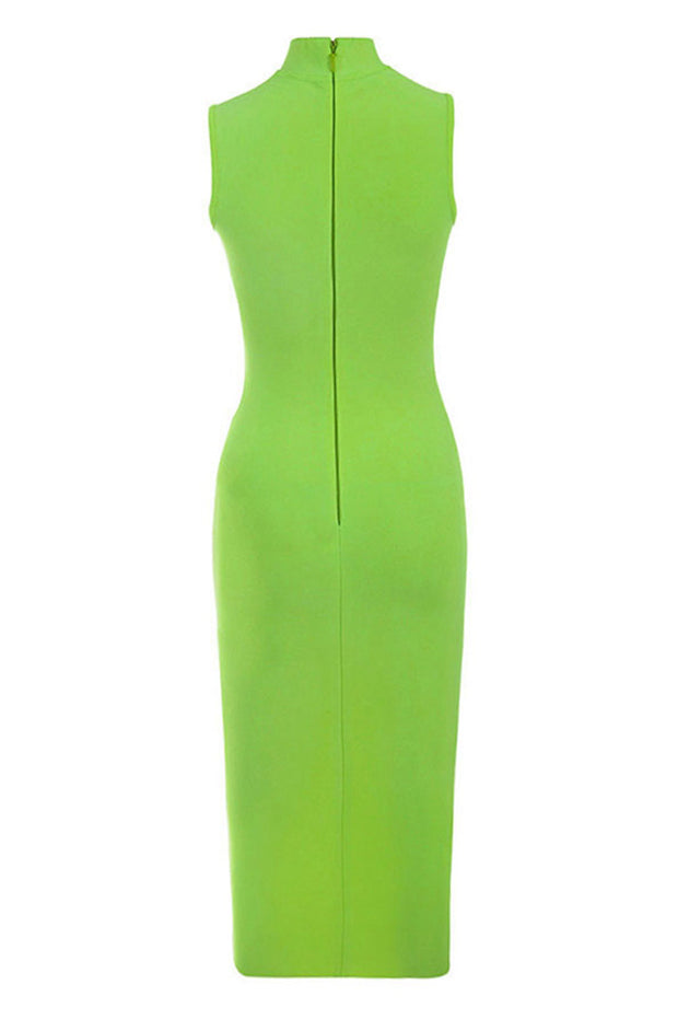 Solid Color O Neck Sleeveless Bodycon Dress