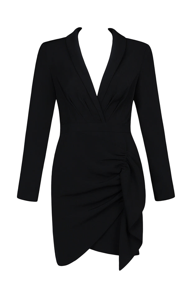 Black V Neck Long Sleeve Ruched Suit Blazer Mini Dress Outfit
