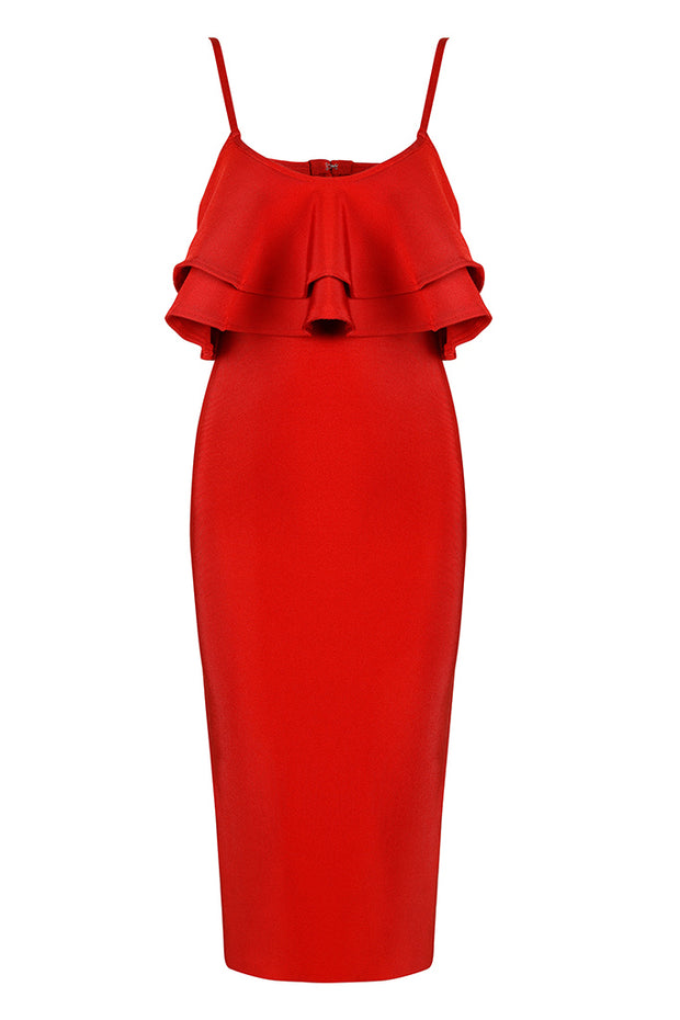 Spaghetti Strap Red Bandage Midi Dress