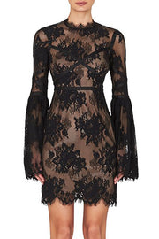 Black Long Sleeve Lace Backless Bandage Dress