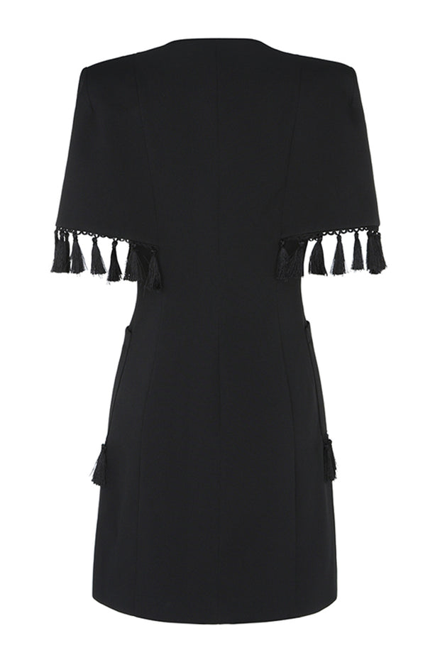 Double Breasted Short Sleeve Tassels Blazer Dress- Black
