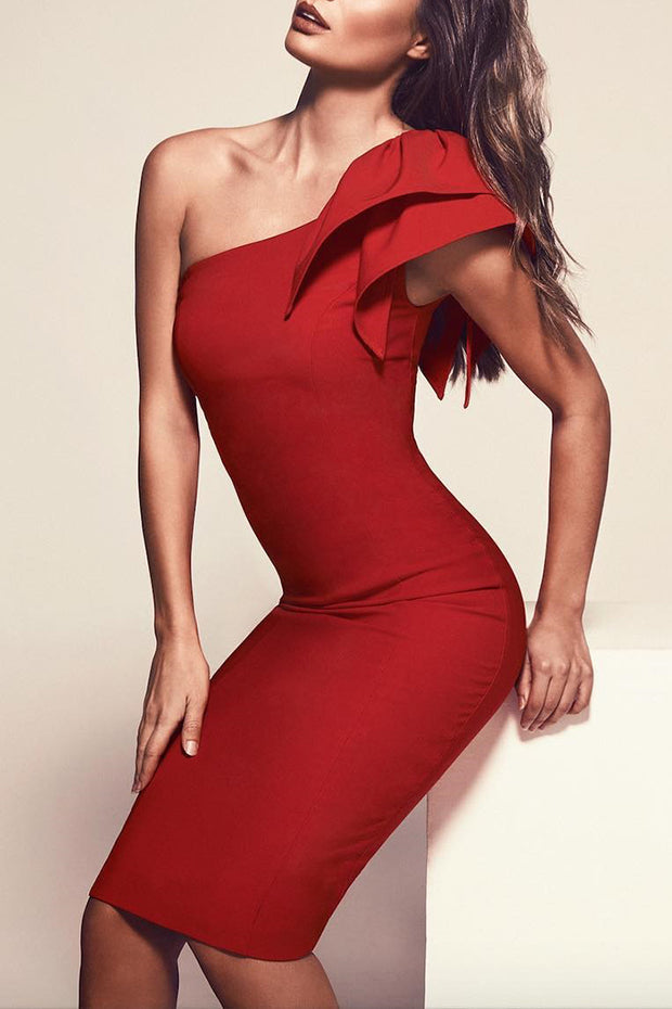 One Shoulder Ruffle Bandage Midi Dress