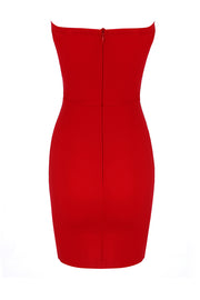 Strapless Sexy Tie-Up Bodycon Women Party Mini Dress Red