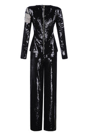 Black Zipper Splicing Sequined Long Sleeve Tops Straight Pants Suits