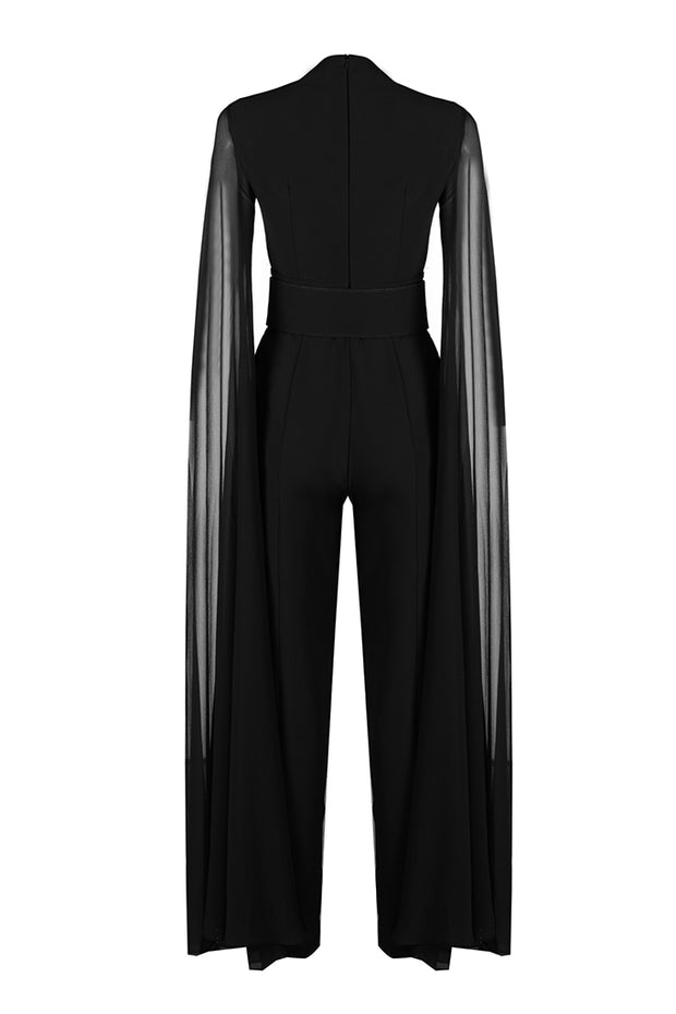 Long Sleeves Scoop High Waist Chiffon Long Wide Leg Jumpsuits