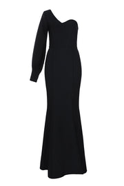 One Shoulder Long Sleeve Black  Prom Dress