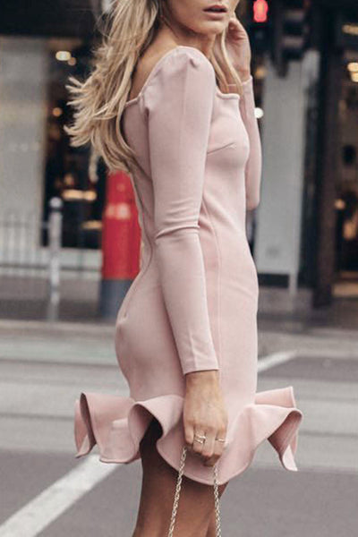 Square Neck Long Sleeve Ruffle Mini Dress