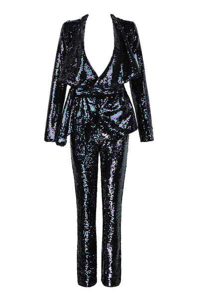 Long Sleeve Defined Waist Sequined Straight Pants Women Suits Set