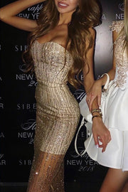 Sweetheart Strapless Mesh Sequin Mini Dress