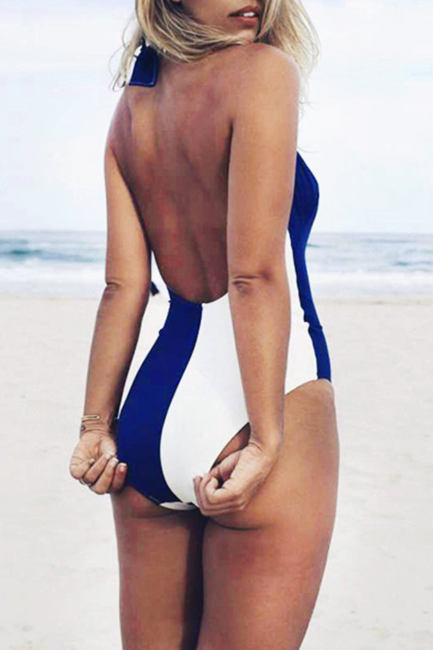 Color Block Halter Lace-Up Swimsuit Blue White