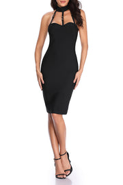 Caged Halter Neck Bandage Bodycon Black Dress
