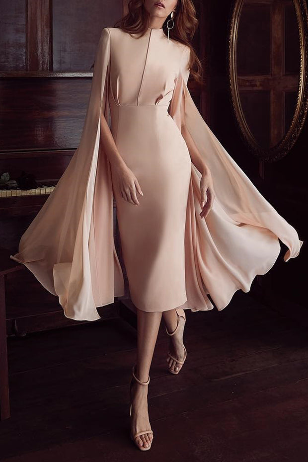Apricot Pink High Neck Cape Sleeves Women Bodycon Midi Dress