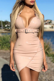 Halter Plunge Belt Bodycon Mini Dress