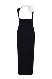 Black Deep V Sleeveless Slit Bow Tie Bodycon Dress