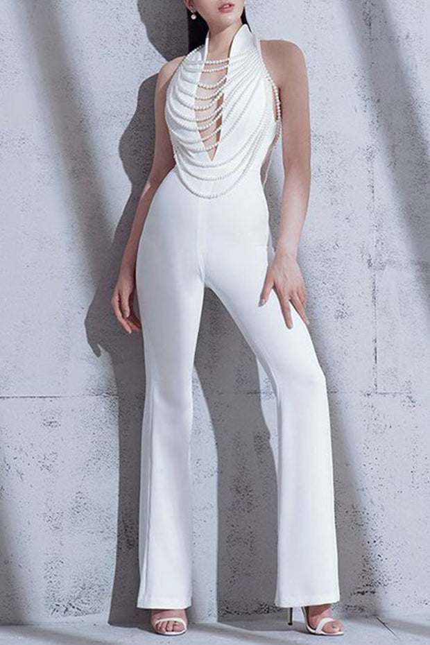 Plunge Sleeveless Open Back Jumpsuit