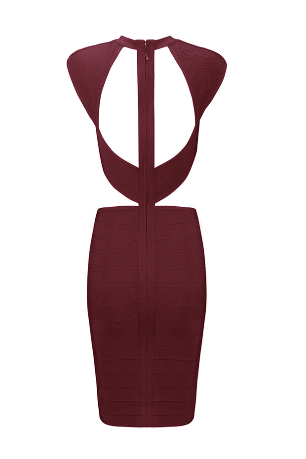 Hollow Out Midriff-Baring Bodycon Mini Dress