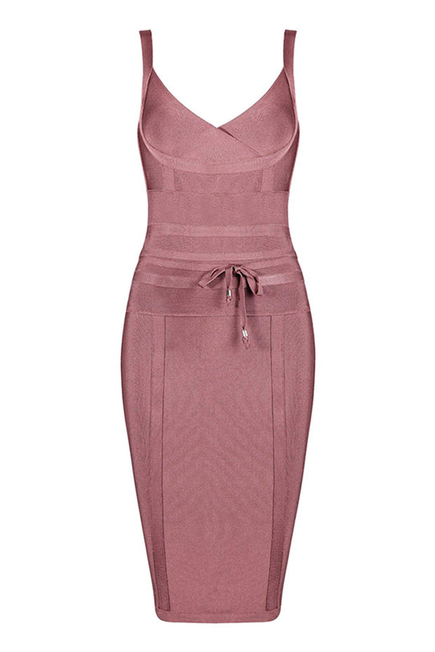 Tie Detail V Neck Bandage Midi Dress