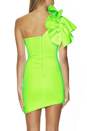 Eva One Shoulder Mini Dress-Green