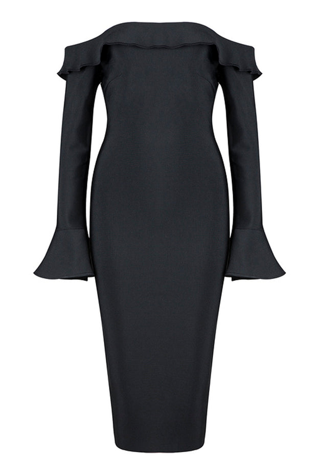 Fluted Long Sleeve Bardot Midi Dress