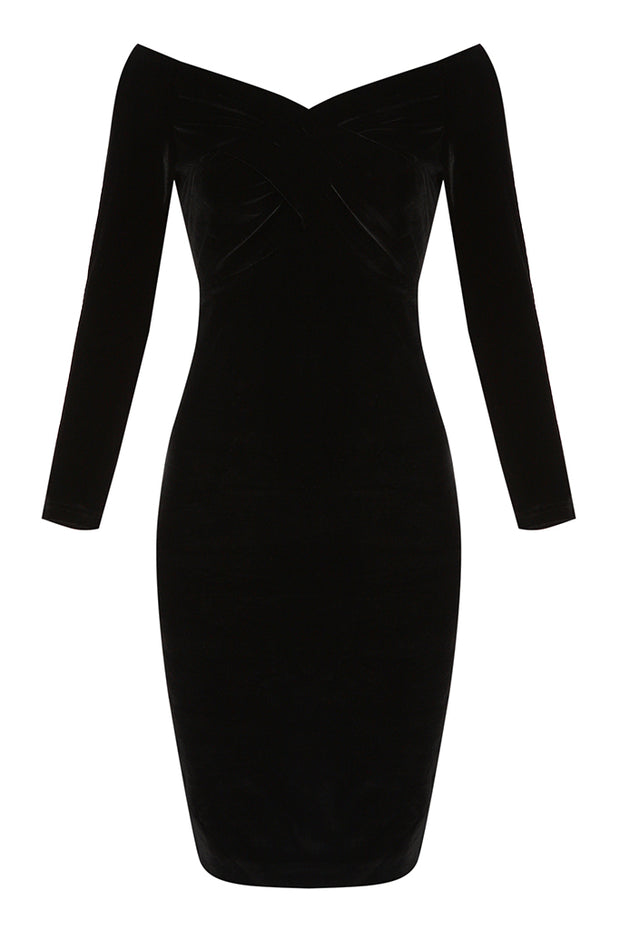 Off Shoulder Long Sleeve Ruched Sexy Midi Dress
