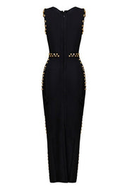 Metallic Applique Bandage Evening Dress