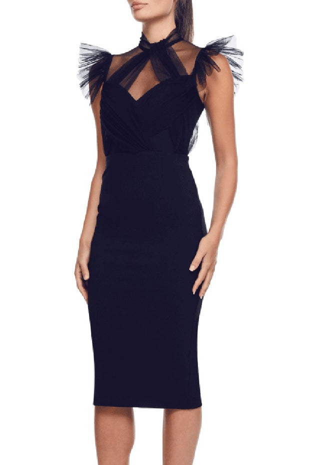 Miki Mesh Bandage Dress-Black