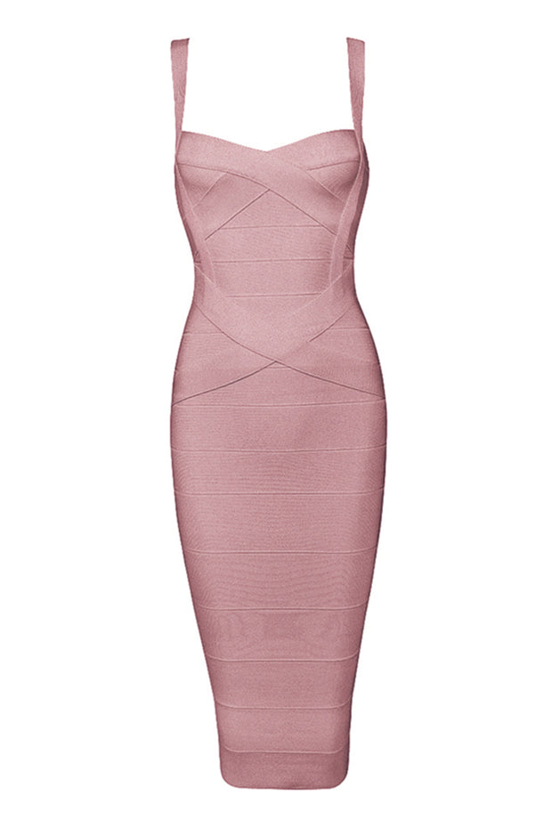 Crisscross Sleeve Midi Bandage Dress