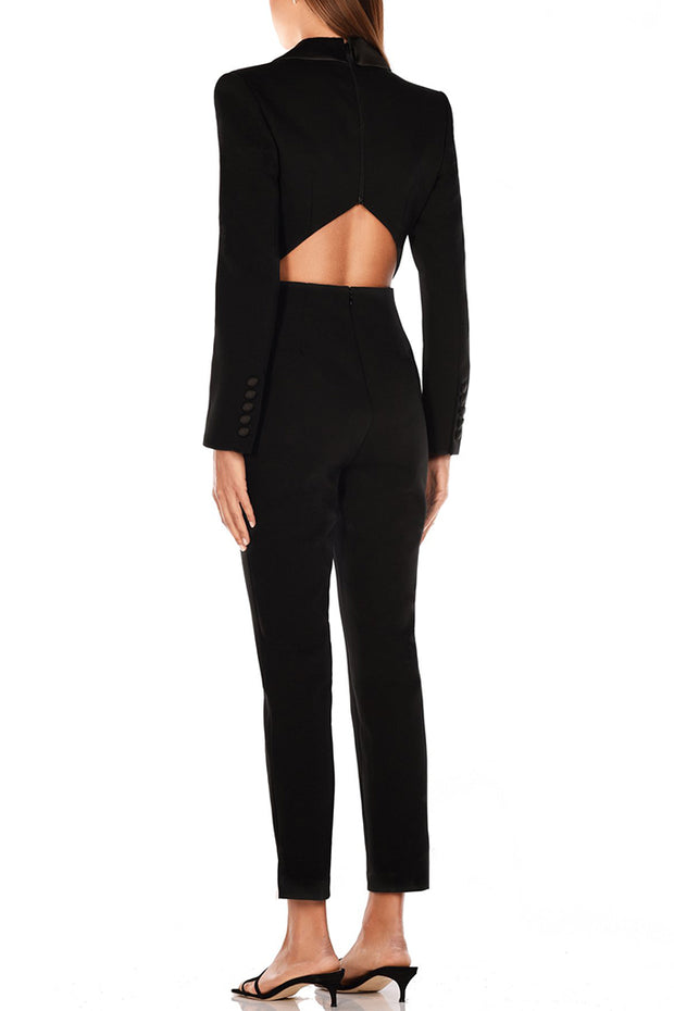 Britta Back Cutout Jumpsuits-Black