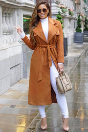 Long Sleeve Maxi Suede Coat- Brown