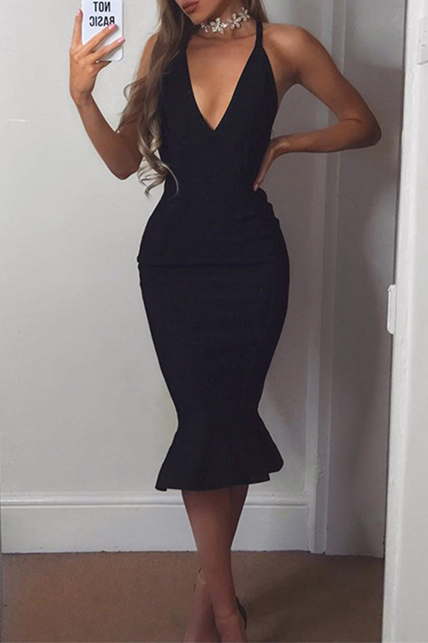 Spaghetti Strap V Neck Mermaid Bandage Dress
