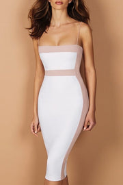 Colorblock Midi Bandage Dress Black White