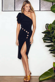 One Shoulder Rivet Diamonds Split Dress-Black