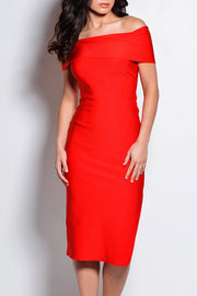 Off The Shoulder Bodycon Split Dress-Red