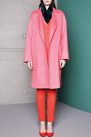 Pocket Half Sleeve Woolen Maxi Coat - Pink
