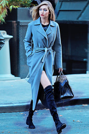 Pocket Long Sleeve Woolen Maxi Coat - Blue