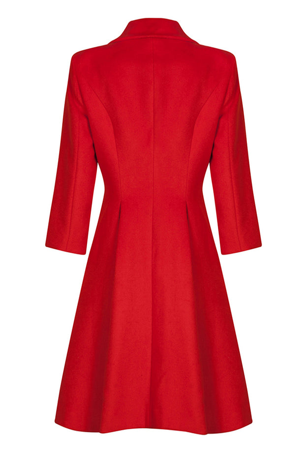 Chic Woolen Coat Dress - Red