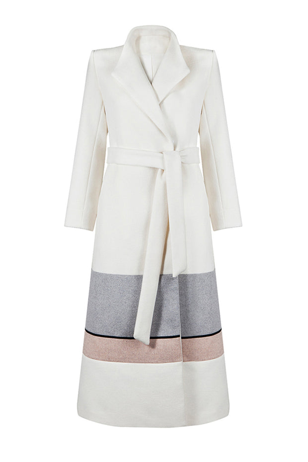 Woolen Long Sleeve Maxi Coat - White