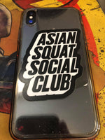 Asian Squat Social Club Block Logo - Sticker