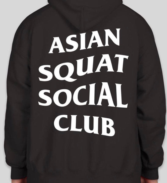 Asian Squat Social Club Classic Logo HOODIE - Black