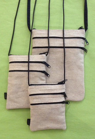 Three Zip Hemp Purse