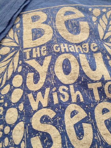 W's Be The Change Tee Shirt, Sea Blue