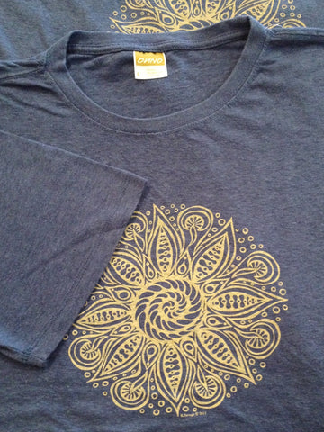 M's Spiral Mandala Tee Shirt, Sea Blue