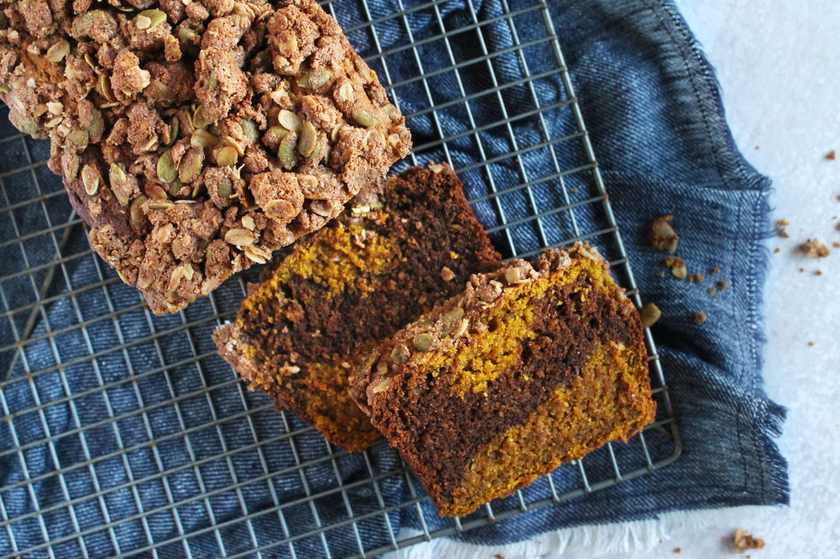 Jordan's Chocolate Pumpkin Bread with Cardamom Pepita Streusel