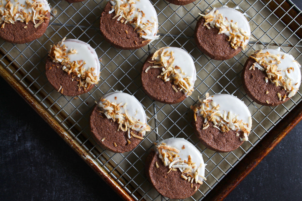 Asha's Spiced Cacao Cookies with Coconut Glaze