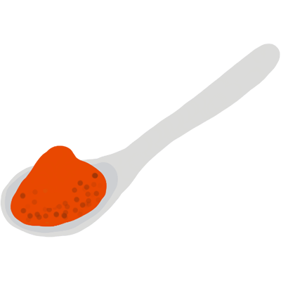 Illustration of ground chilli on a spoon